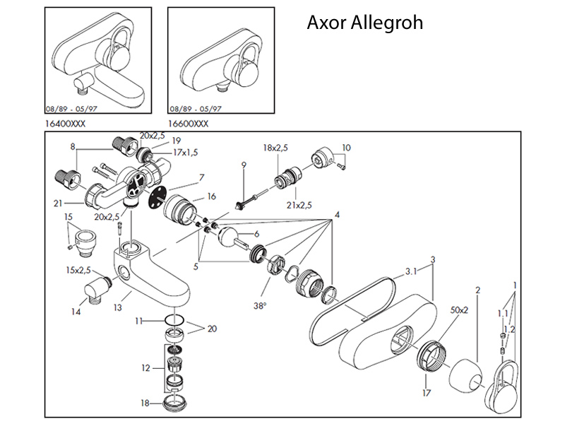 Shower Spares For Hansgrohe Axor Allegroh Bath Shower