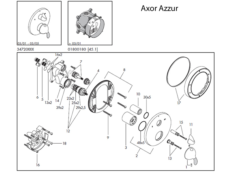 Hansgrohe Axor Azzur Shower Valve Spares Shower Spares And Parts Hansgrohe