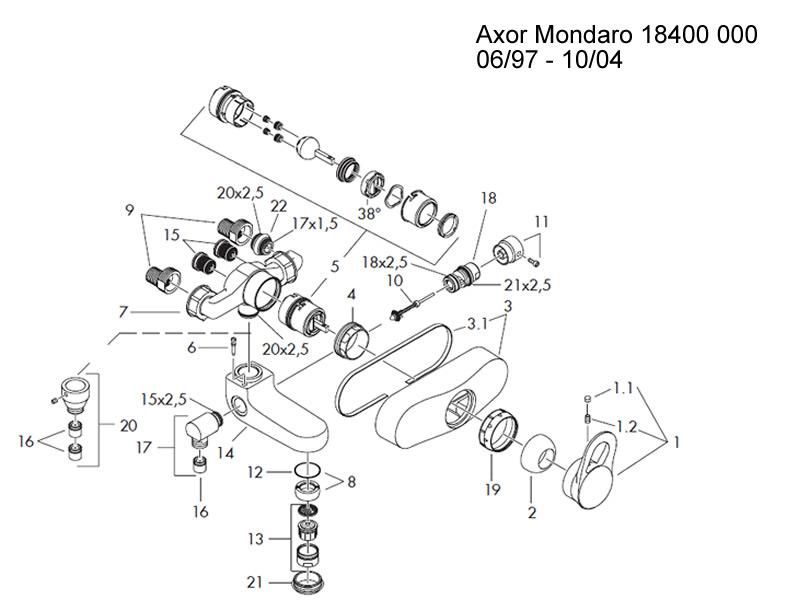 Hansgrohe Axor Mondaro bath shower mixer 06/97 shower spares and ...