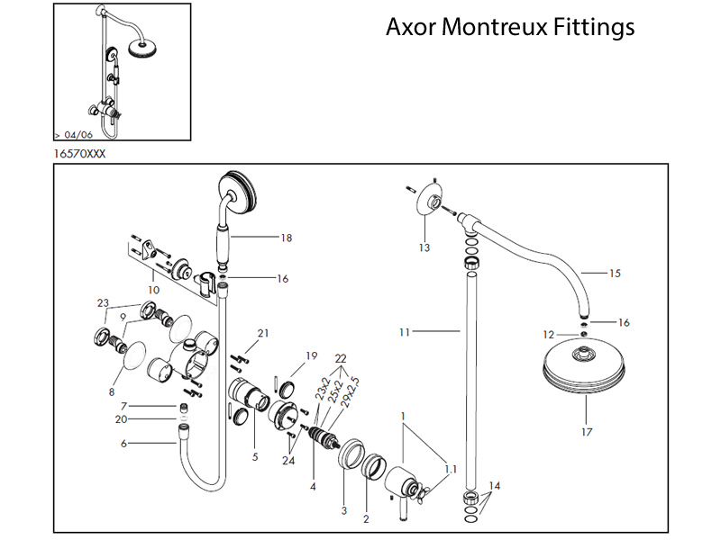 shower spares for hansgrohe axor montreux showerpipe fittings hansgrohe 16570 national. Black Bedroom Furniture Sets. Home Design Ideas