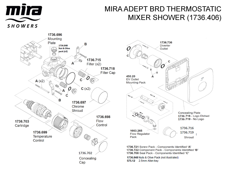 mira adept brd thermostatic mixer shower with diverter. Black Bedroom Furniture Sets. Home Design Ideas