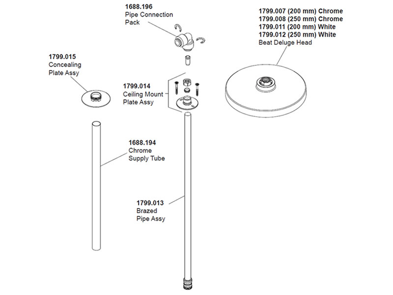 Beau Mira Ceiling Shower Arm Fitting (1.1799.006) Spares Breakdown Diagram
