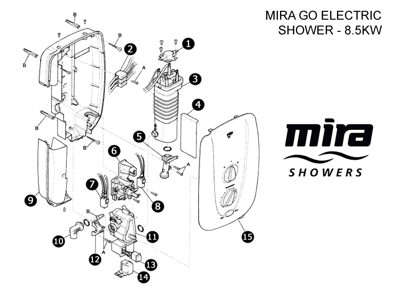 Mira Go MK1 Electric shower (1998-2003) - 8.5kW shower spares and ...