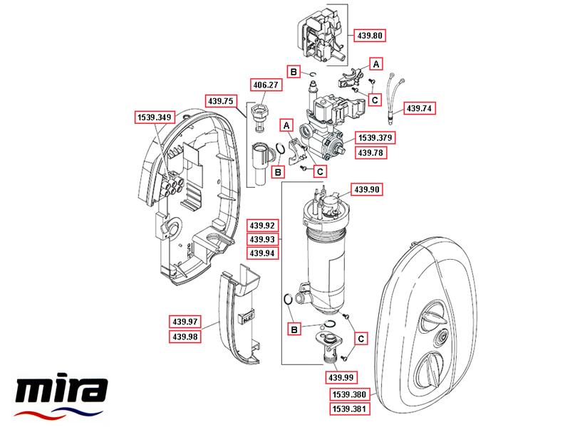 Shower spares for Mira Go MK3 Electric shower (2007-2013) | Mira Go ...