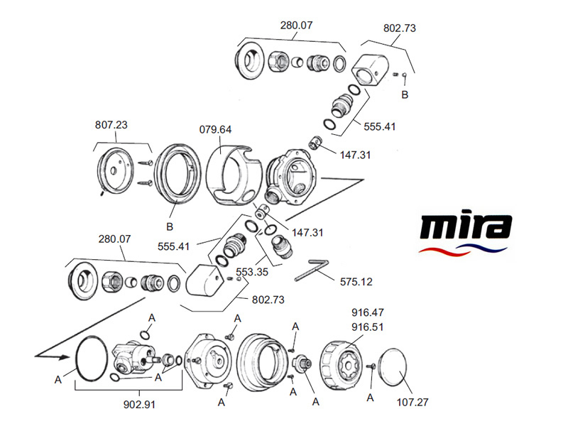 shower spares for mira 415  1985