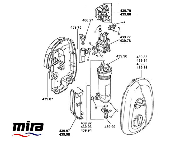 shower spares for mira essentials electric  2004