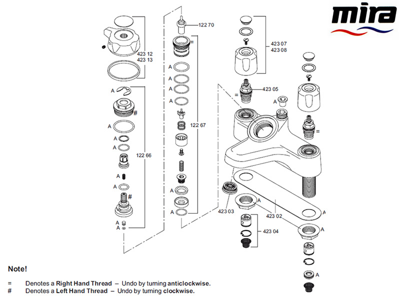 Mira Extra 1999 Current Shower Spares And Parts Mira 1