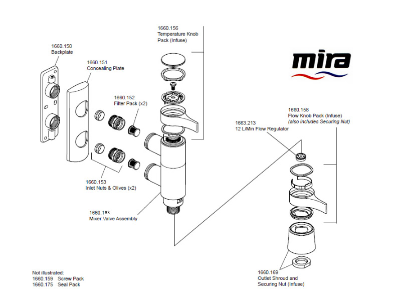 shower spares for mira infuse