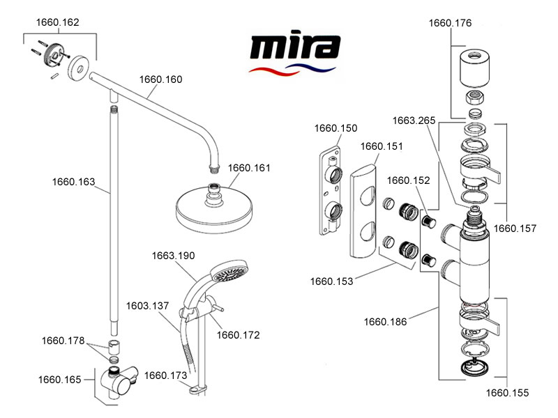 Mira Miniluxe Erd Shower Spares And Parts Mira 1 1660
