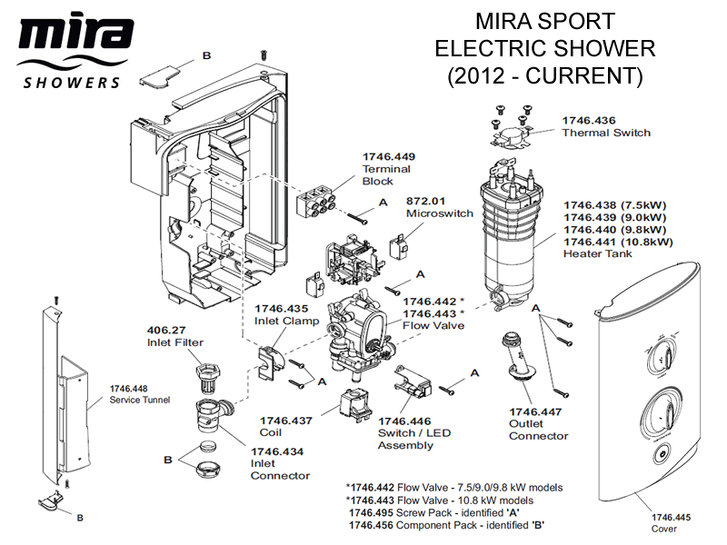 Shower Spares For Mira Sport Electric Shower 7 5kw