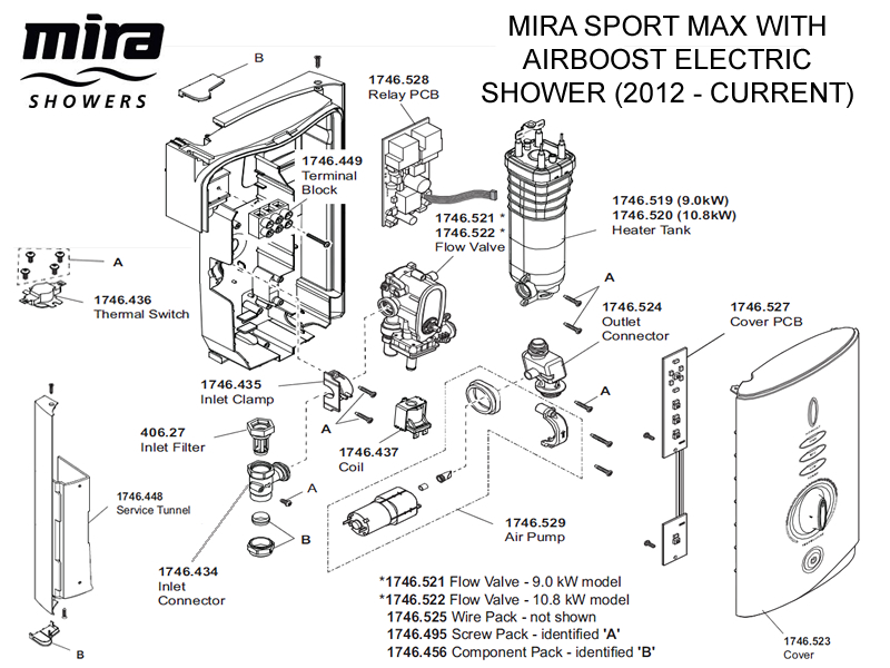 Shower spares for Mira Sport MAX with Airboost Electric Shower 10.8 ...