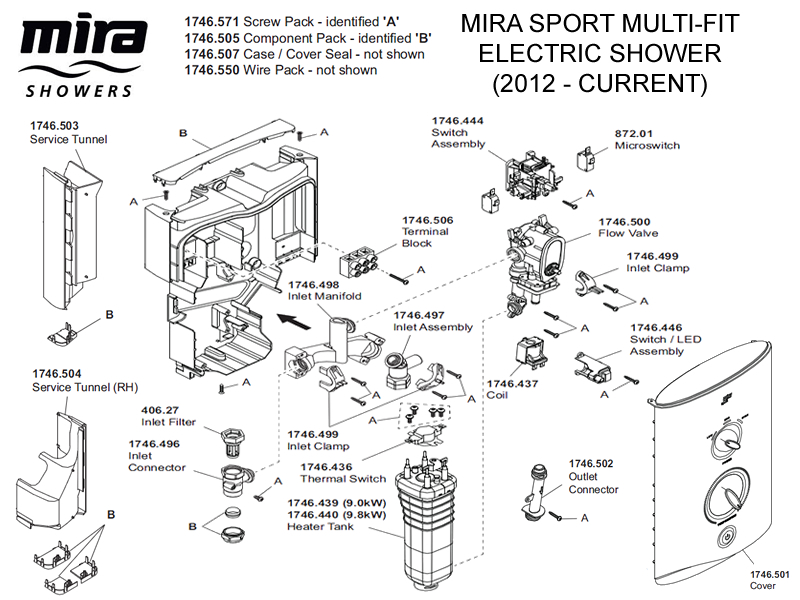 shower spares for mira sport multi