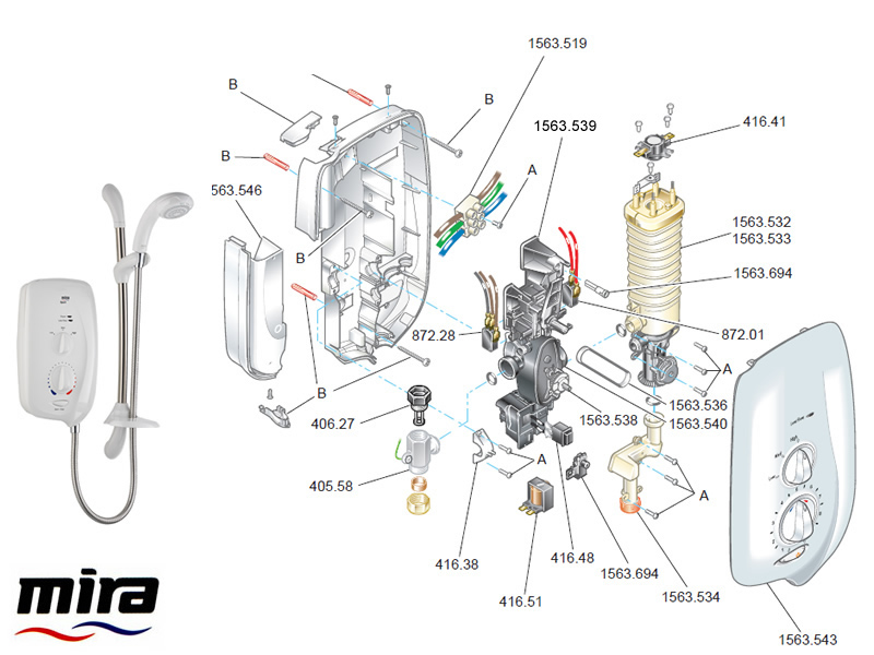 mira sport thermostatic electric shower 9kw