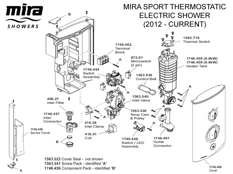 mira sport thermostatic electric shower 9 0kw  chrome shower spares and parts
