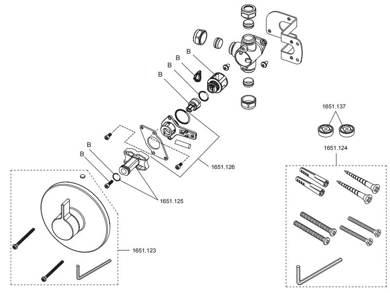 rada v12 b diverter shower spares and parts rada. Black Bedroom Furniture Sets. Home Design Ideas