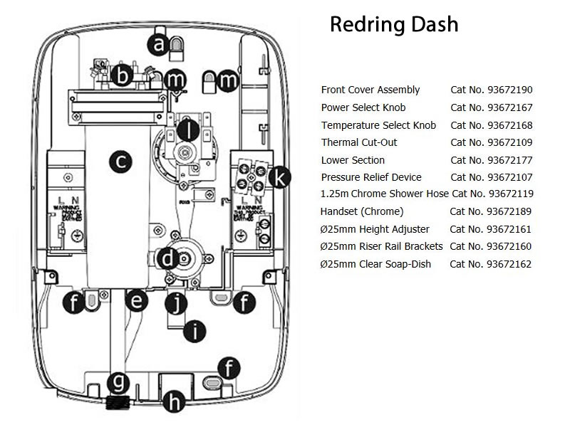 Redring Dash Electric Shower Shower Spares And Parts