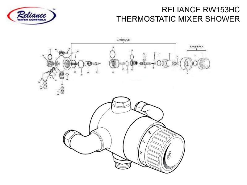 Shower Spares For Reliance Rw153hc Thermostatic Mixer