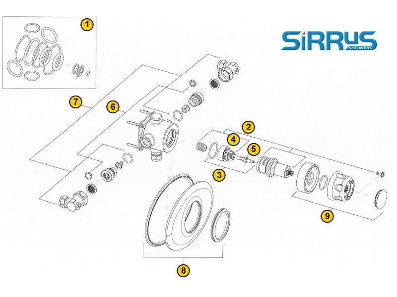 Shower spares for Sirrus Opac TS1503CCP | Sirrus TS1503CCP ...