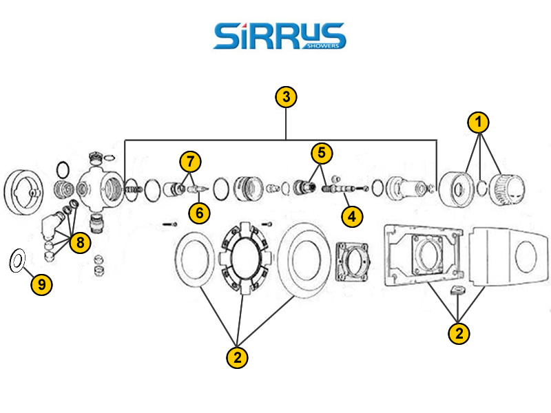 Shower spares for Sirrus TS1500 | Sirrus TS1500 | National Shower Spares