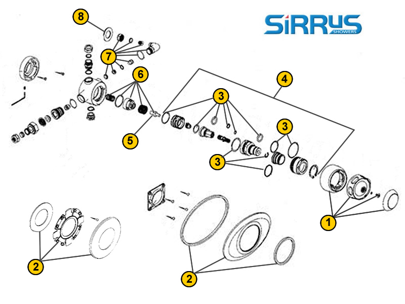 Shower spares for Sirrus TS1600 | Sirrus TS1600 | National Shower Spares