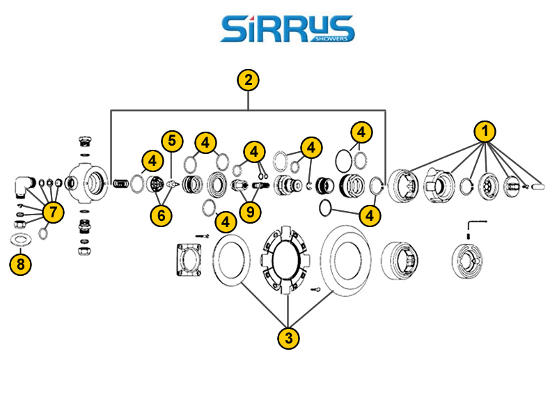 Sirrus TS1850 shower spares and parts | Sirrus TS1850 | National ...