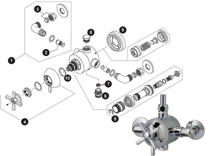 triton bea thermostatic mixer valve shower spares and