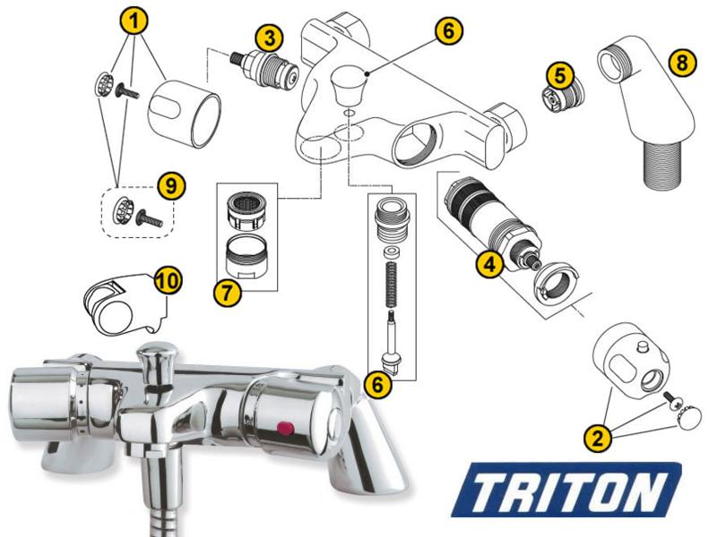 Triton Aire Bath Shower Mixer Spares And Parts