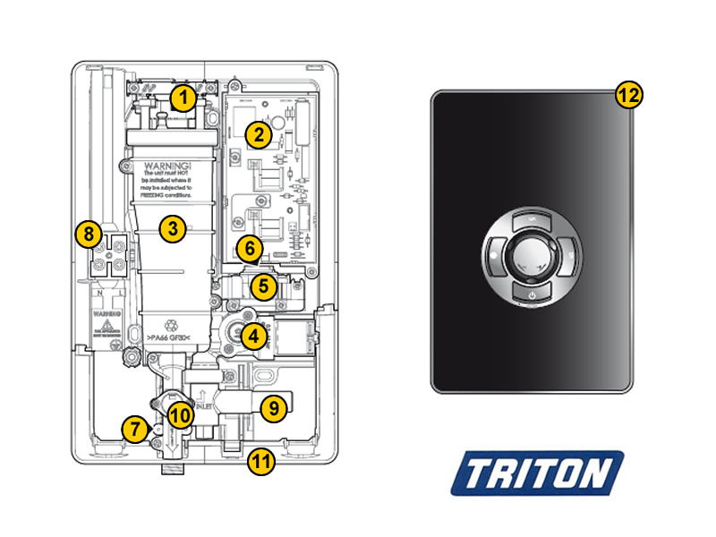 Triton aspirante electric shower spares and parts triton for Housse aspirante