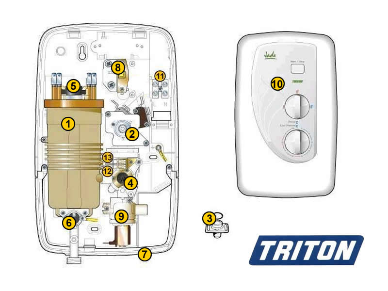 Wiring Diagram For 2 Electric Showers : Shower spares for triton jade national