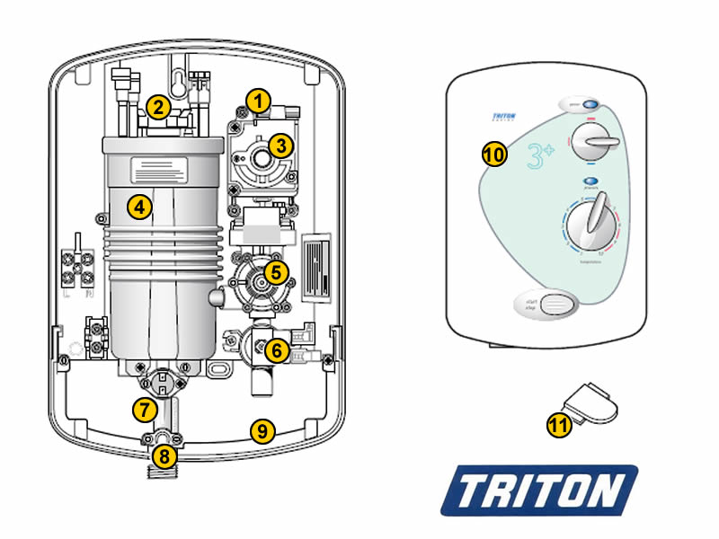 Shower Spares For Triton Rapide 3 Plus