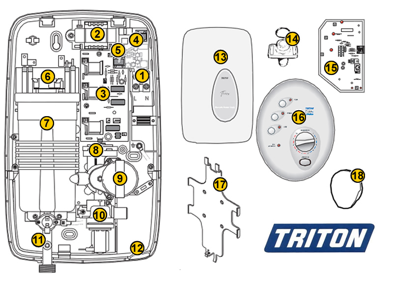 Triton T300si Wireless Shower Spares And Parts