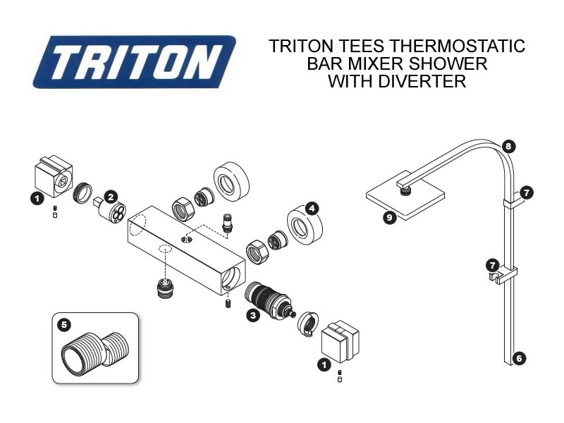shower spares for triton tees bar mixer shower with. Black Bedroom Furniture Sets. Home Design Ideas