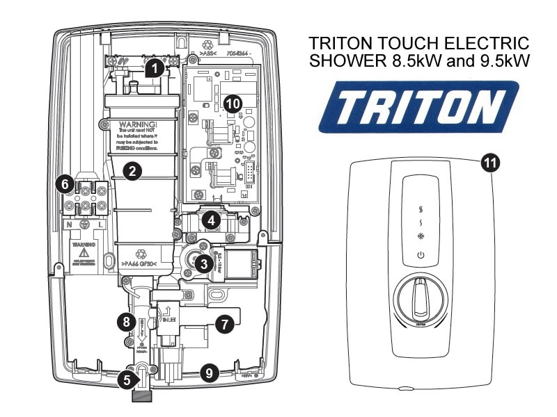 Shower Spares For Triton Touch Electric Shower 8 5kw