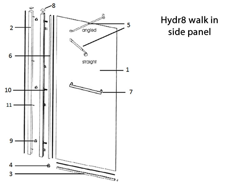 Twyford Hydr8 Walk In Side Panel Shower Spares And Parts