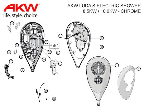AKW Luda S Electric Shower 10.0kW - Chrome (23180CH) shower spares breakdown diagram