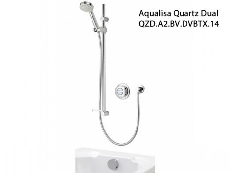 Aqualisa Quartz Dual outlet (QZD.A2.BV.DVBTX.14) spares breakdown diagram