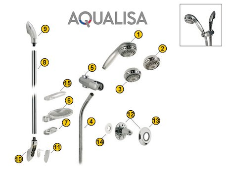 Aqualisa Adjustable Height Head (1999-2009) (Adjustable Height Head) spares breakdown diagram