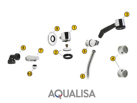 Aqualisa Classic Shower Head Systems (1978-1990) (Classic) spares breakdown diagram