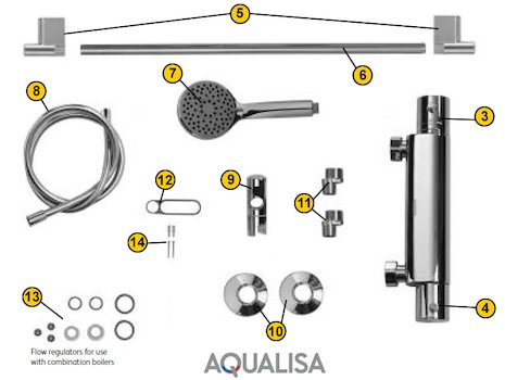 Aqualisa Midas 300 bar mixer shower - Gravity (MD301BAR) spares breakdown diagram