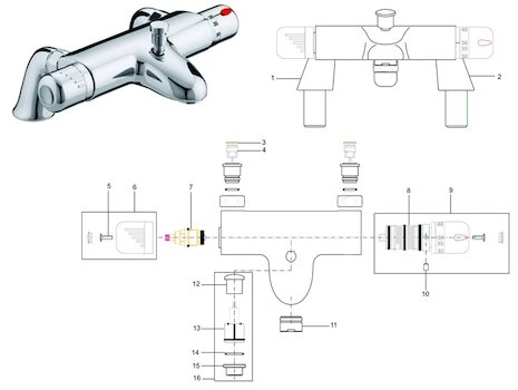 Bristan Artisan pillar bath shower mixer (AR THBSM C) spares breakdown diagram