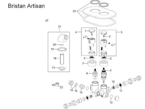 Bristan Artisan Recessed thermostatic shower spares breakdown diagram