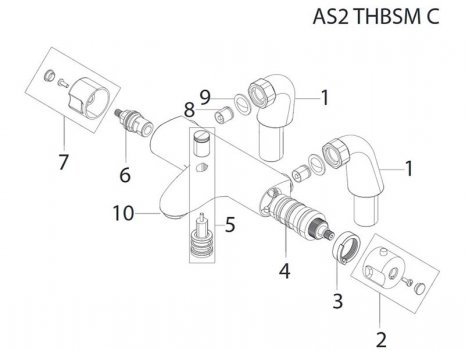 Bristan Assure thermostatic bath shower mixer (AS2 THBSM C) spares breakdown diagram