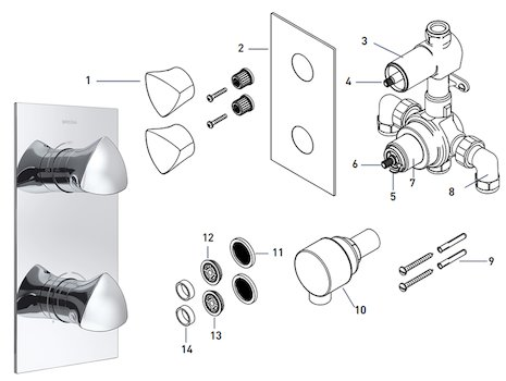 Bristan Bright recessed dual control shower valve (BRG SHCVO C) spares breakdown diagram