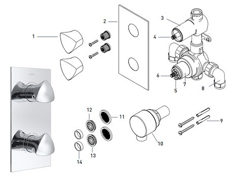 Bristan Bright recessed dual control shower valve with integral two outlet diverter (BRG SHCDIV C) spares breakdown diagram
