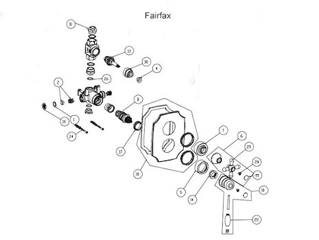 Bristan Fairfax thermostatic Built in (Fairfax) spares breakdown diagram