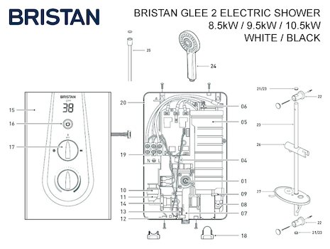 Bristan Glee MK2 electric shower spares breakdown diagram