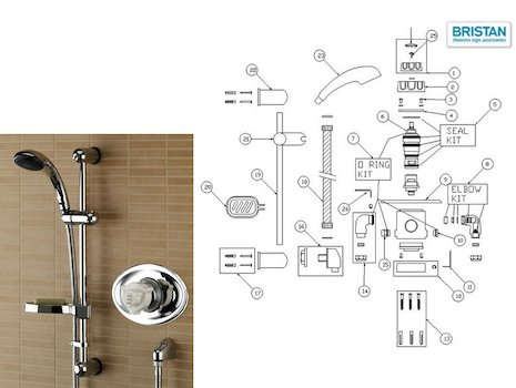Bristan Pisa recessed thermostatic mixer shower spares breakdown diagram