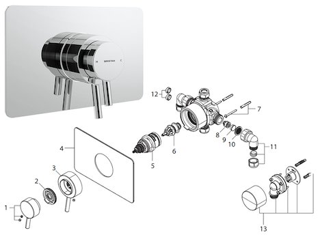 Bristan Prism thermostatic recessed dual control shower valve (PM2 CSHCVO C) spares breakdown diagram
