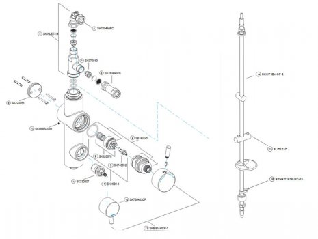 Bristan Prism thermostatic vertical shower (PM TLSHX C) spares breakdown diagram