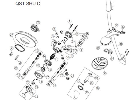 Bristan Quest thermostatic shower (Quest) spares breakdown diagram